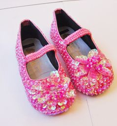 Coastal Projections Bright Pink Sparkly Sequined Flower Shoes 0 1 4inf 4yth