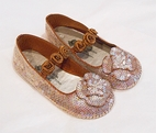 Coastal Projections Brown & Beige Iridescent Sequin Shoes w/Rosettes