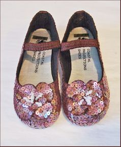 Coastal Projections Brown Irredescent Sequined Shoes w/Flower