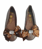 Coastal Projections Brown Sparkly Girls Shoes w/Jewel Bow 3Yth 4Yth