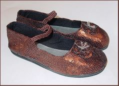 Coastal Projections Brown Sequined MJ Shoes w/Flower 2yth
