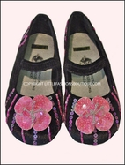 Coastal Projections Black Velvet Toddler Shoes w/Pink Sequined Flower sz 6