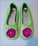 Coastal Projections Iridecent Lime Sequined Ballerina Shoes 4inf 6tdlr 2yth
