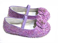 Coastal Projections Lavender Sequined Shoes w/Flower 3inf  3Yth