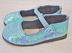 Coastal Projections Custom Light Blue Sequined MJ Shoes 5 Toddler