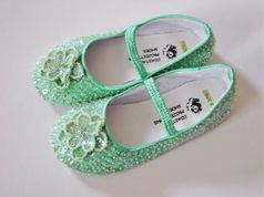 Coastal Projections Custom Mint Iridescent Sequined Shoes w/Flower 2 4 7 10