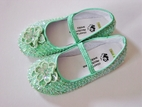 Coastal Projections Custom Mint Iridescent Sequined Shoes w/Flower 2 4 10