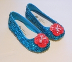 Coastal Projections Custom Turquoise & Hot Pink Sequined Flower Shoes