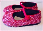 Coastal Projections Fuschia Sequined Ballerina Shoes w/Strap sz 1yth 3Yth
