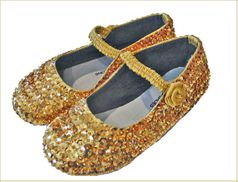 Coastal Projections Gold Sequined Ballerina Shoes w/Strap & Rosette  sz 5 Tdlr Last One