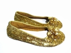 Coastal Projections Gold Sequined Flower Toe Ballerina Flats Youth sz 2 4
