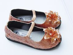 Coastal Projections Golden Brown Sequined Sparkly Shoes Infant 0 1 inf