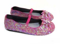 Coastal Projections Iridescent Sequined Plum Shoes w/Flower 2 4 youth