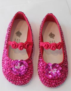 Coastal Projections Hot Pink Sparkly Sequined Shoes Rosettes & Flower