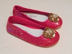 Coastal Projections Hot Pink w/Gold Flower Sparkly Sequined Shoes