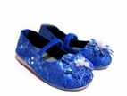Coastal Projections Midnight Blue Sparkly Sequin Shoes w/Flower