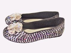 Coastal Projections Silver Flower Sequined Black & Silver Shoes  10 4yth