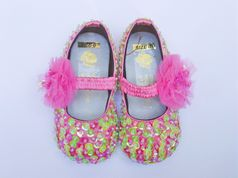 Coastal Projections Infant Sparkly Pink & Green Sequin Shoes w/Pouff 0 1 2
