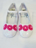 Coastal Projections Irredescent Sequined Shoes White w/Pink Flower