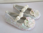 Coastal Projections Ivory Sequined Flower Sparkly Shoes w/Rosettes *Top Seller*