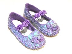 Coastal Projections Lavender Sparkly Sequined Girls Shoes w/Rosettes