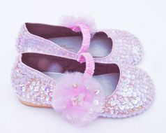 Coastal Projections Light Pink Irredescent Seqined Shoes w/Tulle Puff 0 2INF