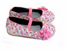 Coastal Projections Multi Pastel Sequined Ballerina Shoes w/Pink Flower 0 1 2 8