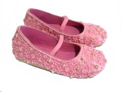 Coastal Projections Pink Beaded Girls Ballerina Flats