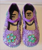 Coastal Projections Purple & Turq.  Sequined Shoes sz 6