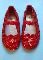 Coastal Projections Red Sparkly Seqiun Shoes w/Rosettes 0 1 Inf 12 2 3 4 5