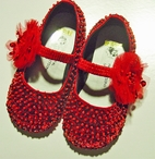 Coastal Projections Red Sparkly Infant Sequin Shoes w/Tulle Puff  0 2  Last 2