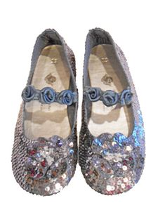 Coastal Projections Sequined Custom Design Pewter Shoes w/Rosettes