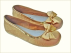 Coastal Projections Shoes Gold Ballerina Bow Shoes 4Infant 2Yth