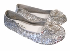 Coastal Projections Silver Sequined Flower Tween Shoes sz 4Yth