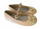 Coastal Projections Beige Sequin Shoes w/Rosettes