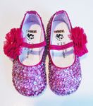Coastal Projections Sparkly Infant Plum Sequined Shoes w/Tulle Puff 0 1 3 4