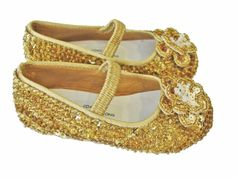 Coastal Projections Sparkly Gold Sequined Shoes w/Flower 0inf 4inf