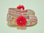 Coastal Projections Sparkly  Infant Sequined Shoes w/Hot Pink Tulle Puff 0 1