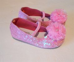 Coastal Projections Sparkly Pink Sequin Shoes w/Organza Flower 0 1 3 4 5  8 11
