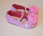 Coastal Projections Sparkly Pink Sequin Shoes w/Organza Flower 0 1 3 4 5  11