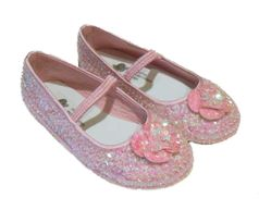 Coastal Projections Sparkly Light  Pink Ballerina Shoes w/Sequined Flower  4 5Yth
