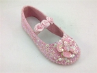 Coastal Projections Sparkly Light Pink Custom Sequin Shoes w/Rosettes *Top Seller*
