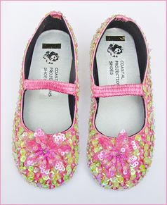 Coastal Projections Sparkly Pink & Green Sequined Shoes w/Flower 7 8