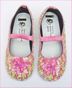 Coastal Projections Sparkly Pink & Green Sequin Flower Shoes Toddler 7 8