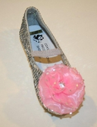 Coastal Projections Sparkly Sequined Silver Shoes w/Pink Flower