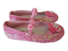 Coastal Projections Sparkly Sequined Custom  Pink Shoes w/Rosettes *Top Seller*