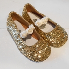 Coastal Projections Sparkly Sequined Girls Shoes Gold w/Ivory Rosettes 0 1 4 5 2 3 4yth