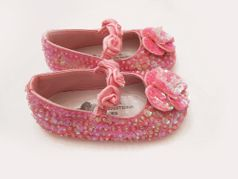 Coastal Projections Sparkly Sequined Girls Shoes Rosettes 0-12