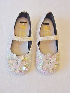 Coastal Projections Sparkly Sequined Ivory Shoes w/Flower Infant 0