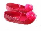 Coastal Projections Hot Pink  Sparkly Sequined Shoes w/Organza Flower